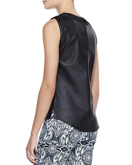 Valentina Leather Cutout Top