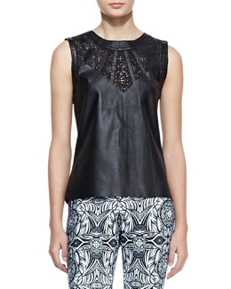 Valentina Shah Valentina Leather Cutout Top