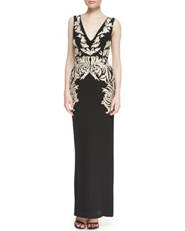 Nicole Miller Sleeveless Applique Leaf Column Gown, Black/Gold