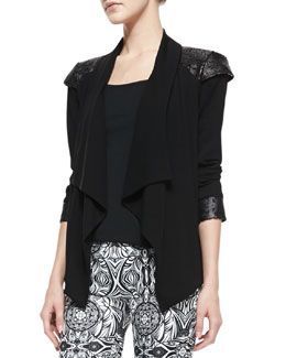 Valentina Shah Carina Crepe Leather-Shoulder Jacket