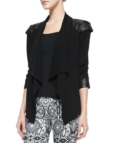 Carina Crepe Leather-Shoulder Jacket