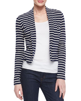Three Dots Long-Sleeve Striped Cardigan