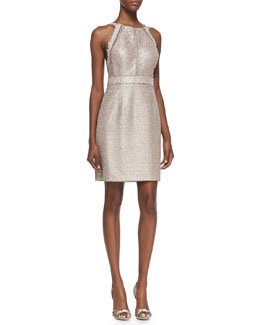 Phoebe by Kay Unger Sleeveless Metallic Halter Cocktail Dress, Pink/Multicolor