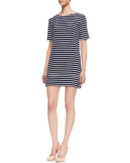 Three Dots Striped-Tunic 3/4-Sleeve Shift  Dress