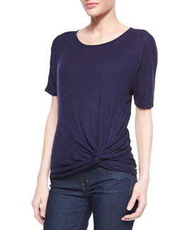 Three Dots Short-Sleeve Knot Tee