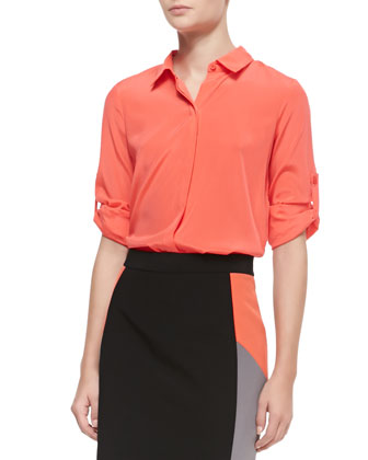 3/4-Sleeve Button Tab Blouse, Pulse