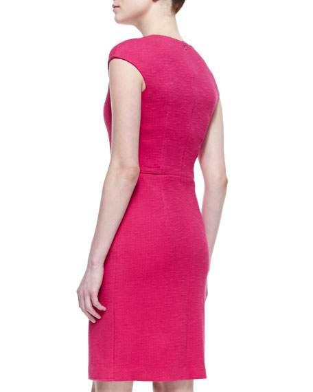 Cap-Sleeve Belted Sheath Dress, Fuchsia