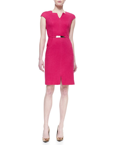 David Meister Cap-Sleeve Belted Sheath Dress, Fuchsia