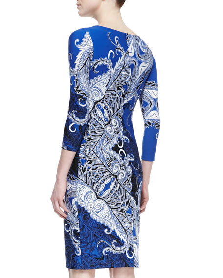 Print Sheath Dress, Blue/Black/White