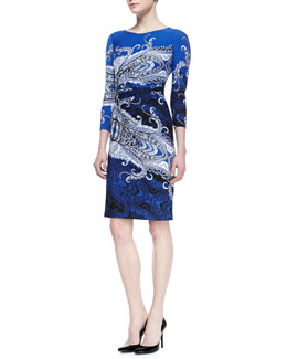 David Meister Print Sheath Dress, Blue/Black/White
