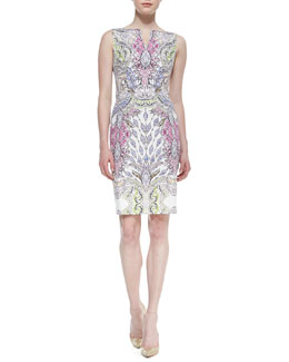 David Meister Sleeveless Printed Sheath Dress, Multicolor
