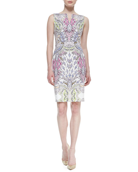 Sleeveless Printed Sheath Dress, Multicolor