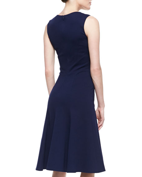 Sleeveless Sweetheart-Neckline Dress, Navy