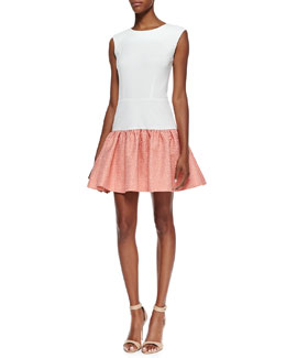 Erin Fetherston Sleeveless Jacquard Skirt Dress, Ivory/Electric Guava