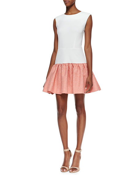 Sleeveless Jacquard Skirt Dress, Ivory/Electric Guava