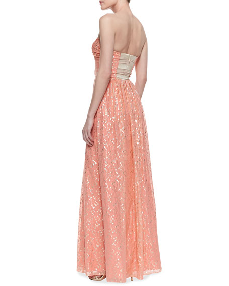 Strapless Fine Lollipop Print Gown, Desert Flower/Silver