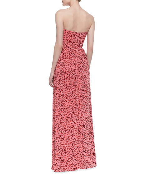 Strapless Animal-Print Gown, Geranium