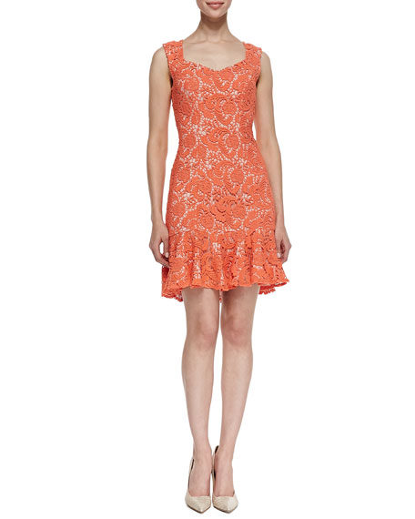 Sleeveless Crocheted Lace Dress, Electric Guava