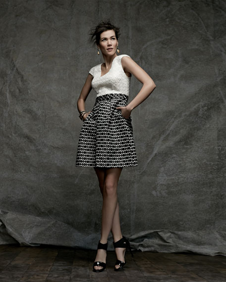 Contrast Texture Fit-and-Flare Dress, White/Black