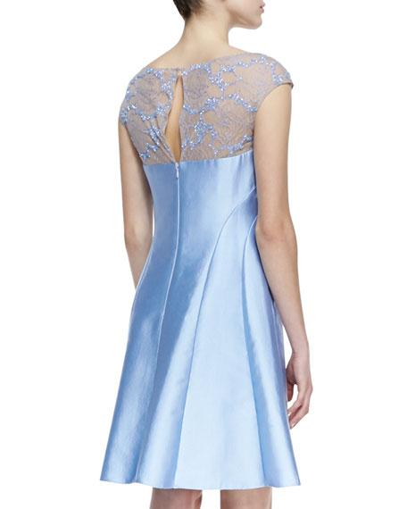 Cap-Sleeve Beaded Lace-Yoke Cocktail Dress, Periwinkle