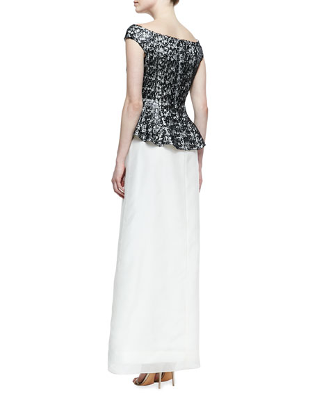 Off-Shoulder Peplum Lace-Bodice Gown, Black/White