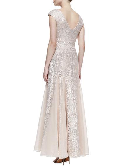 Cap-Sleeve Embroidered Godet Gown, Blush/Platinum