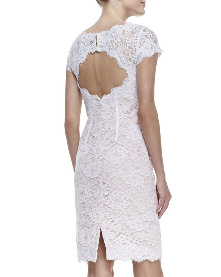 Cap-Sleeve Lace Sheath Cocktail Dress, White/Petal