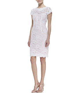 ML Monique Lhuillier Cap-Sleeve Lace Sheath Cocktail Dress, White/Petal