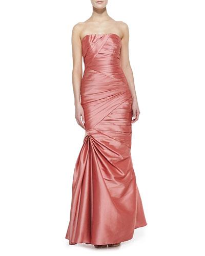 ML Monique Lhuillier Strapless Asymmetric Drape Gown, Salmon