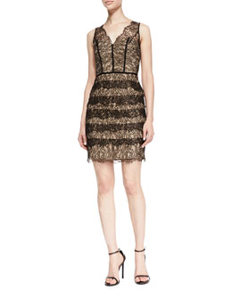 ML Monique Lhuillier Sleeveless Ruffle-Skirt Lace Cocktail Dress, Black/Tobacco