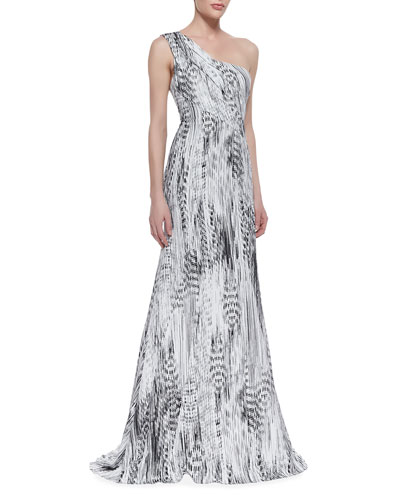 ML Monique Lhuillier One-Shoulder Printed Gown, Black/White