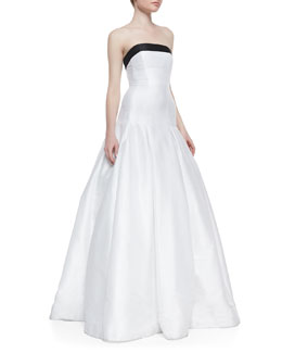 ML Monique Lhuillier Strapless Contrast-Top Gown, Black/White
