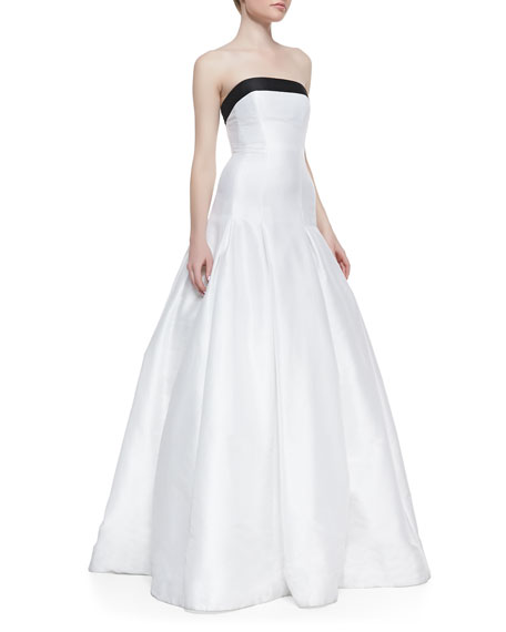 Strapless Contrast-Top Gown, Black/White