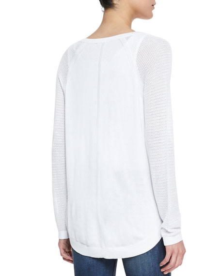Bobbi Perforated-Sleeve Henley Top
