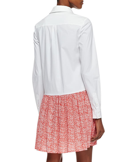 Alison Contrast Shirt Dress, White/Chile Mesh