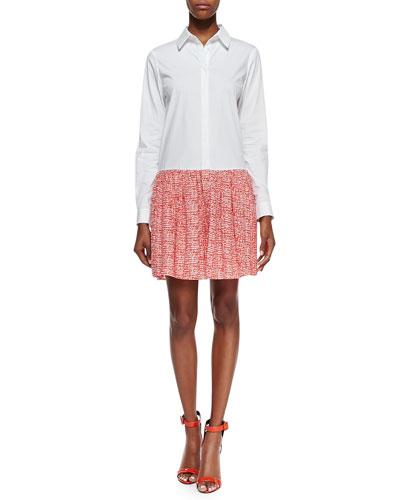 Diane von Furstenberg Alison Contrast Shirt Dress, White/Chile Mesh