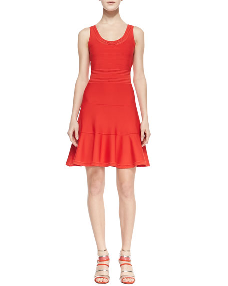Perry Sleeveless Fit-and-Flare Dress, Chili Pepper