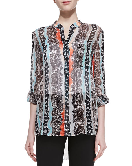 Gilmore Long Sleeve Reptile Print Blouse, Multicolor
