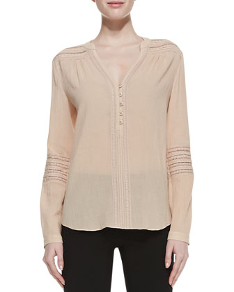 Gaylen Long-Sleeve Knit-Detail Blouse, Soft Bamboo