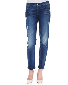 7 For All Mankind Josefina Boyfriend Denim Jeans, Med Blue