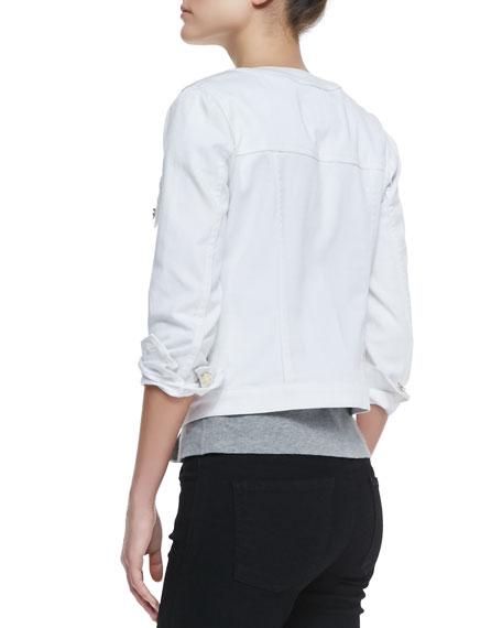 Round-Neck Button-Front Denim Jacket