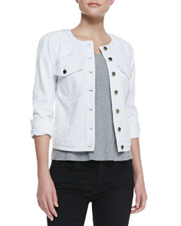 7 For All Mankind Round-Neck Button-Front Denim Jacket