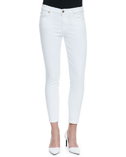 7 For All Mankind High-Rise Ankle-Cropped Jeans, White Fashion