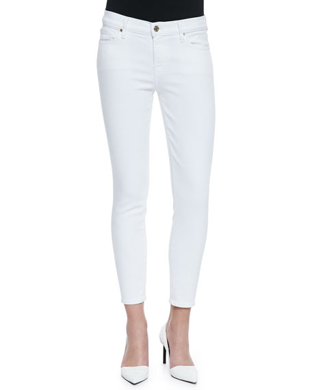 High-Rise Ankle-Cropped Jeans, White Fashion