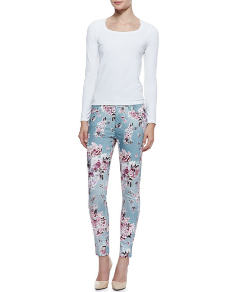 7 For All Mankind Victorian Floral-Print Skinny-Leg Jeans