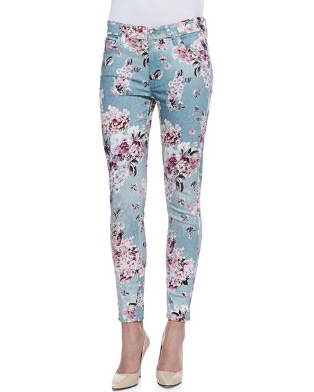 Victorian Floral-Print Skinny-Leg Jeans