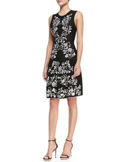 Cynthia Steffe Briella Sleeveless Embroidered Flowers Dress, Black/White