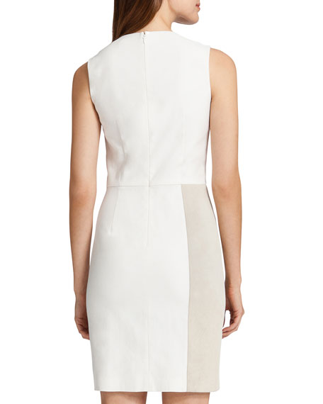 Albany Sleeveless Mixed Media Dress, White/Light Cream