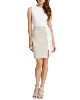 Cynthia Steffe Albany Sleeveless Mixed Media Dress, White/Light Cream