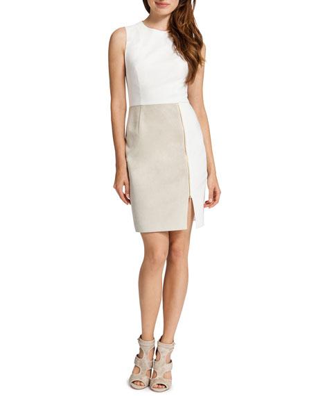 Albany Sleeveless Mixed Media Dress, White/Light Cream